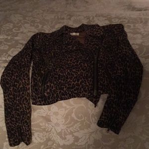 Silence and Noise leopard moto jacket